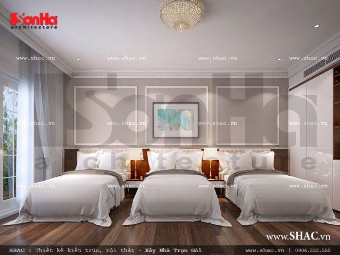 Mẫu thiết kế nội thất phòng ngủ tiêu chuẩn 5 sao cao cấp với phòng 3 giường ngủ bố trí khoa học