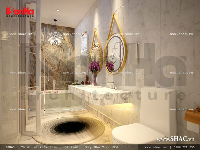 Nội thất phòng tắm cao cấp trong các không gian phòng ngủ của công trình khách sạn 5 sao tại Phú Quốc