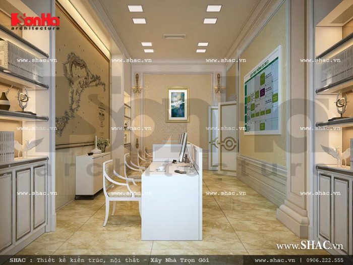 Mẫu nội thất phòng làm việc cũng được thiết kế đồng bộ phong cách trời Âu lịch thiệp và trang trọng