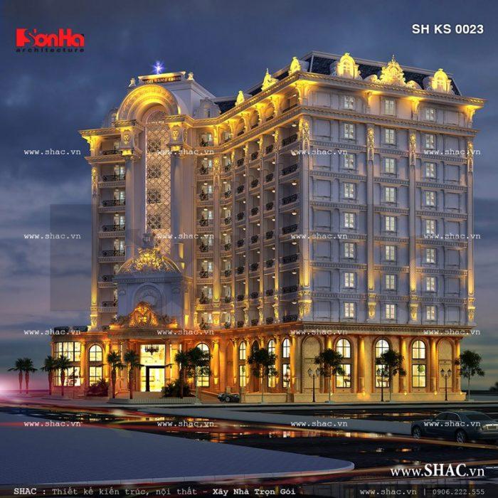 Phối cảnh khách sạn tiêu chuẩn 5 sao càng sang trọng và đẳng cấp hơn khi lên đèn về đêm