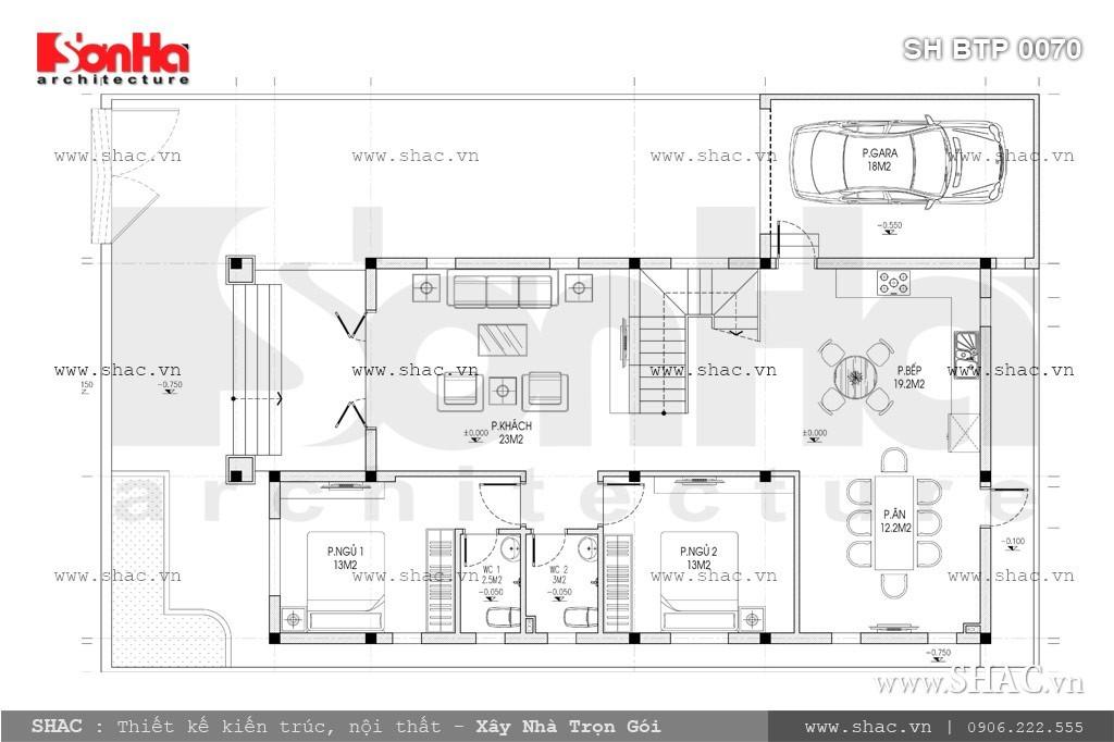 Bản vẽ mặt bằng công năng tầng 1 của biệt thự sh btp 0070