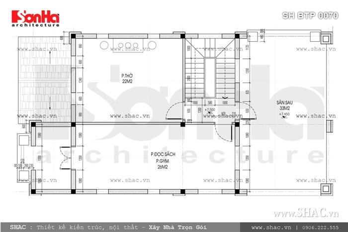 Bản vẽ mặt bằng công năng tầng 3 của biệt thự sh btp 0070