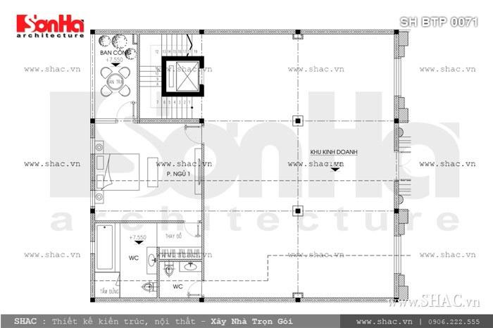Bản vẽ mặt bằng lầu 1 của biệt thự sh btp 0071