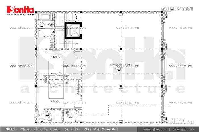 Bản vẽ mặt bằng lầu 2 của biệt thự sh btp 0071