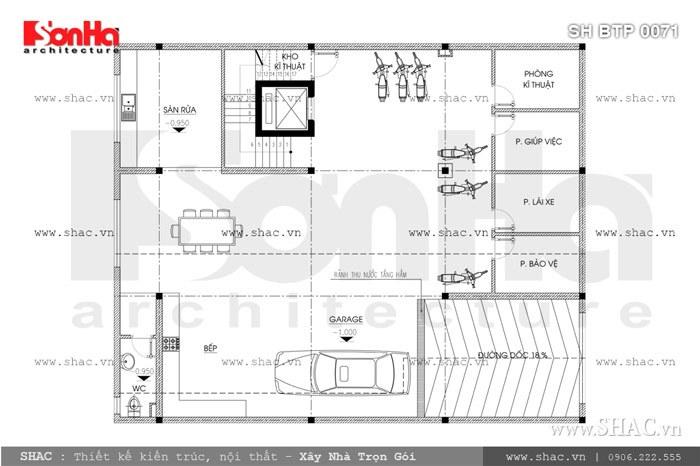 Bản vẽ mặt bằng tầng hầm của biệt thự sh btp 0071