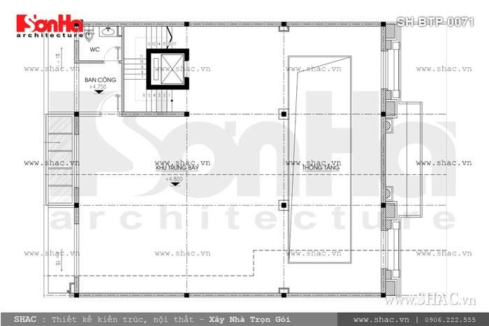 Bản vẽ mặt bằng tầng lửng của biệt thự sh btp 0071