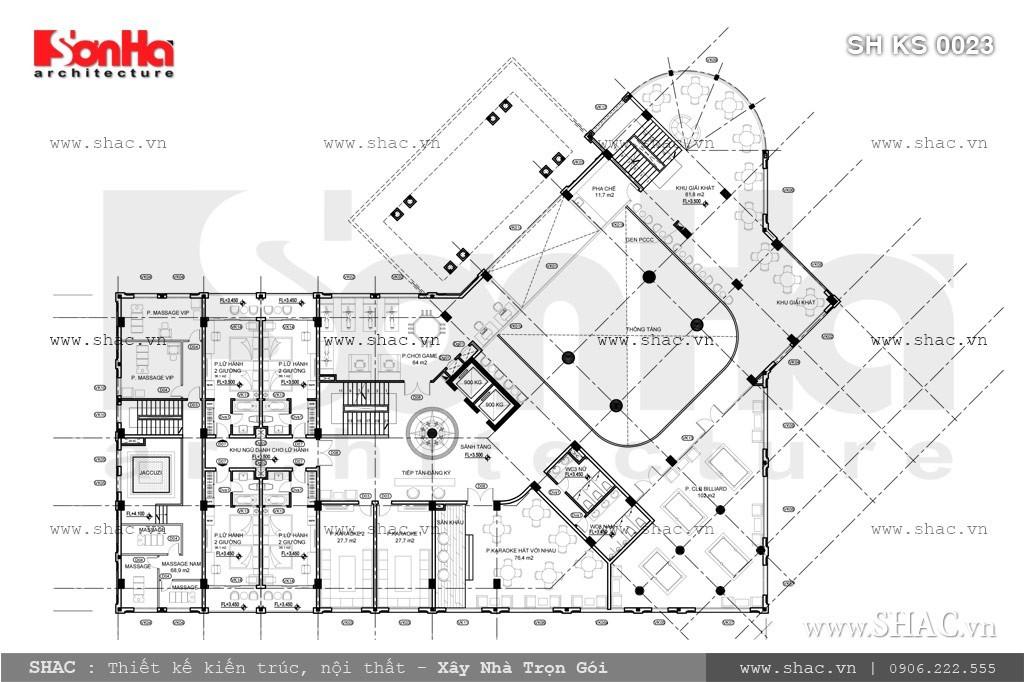 Bản vẽ mặt bằng tầng lửng của khách sạn sh ks 0023