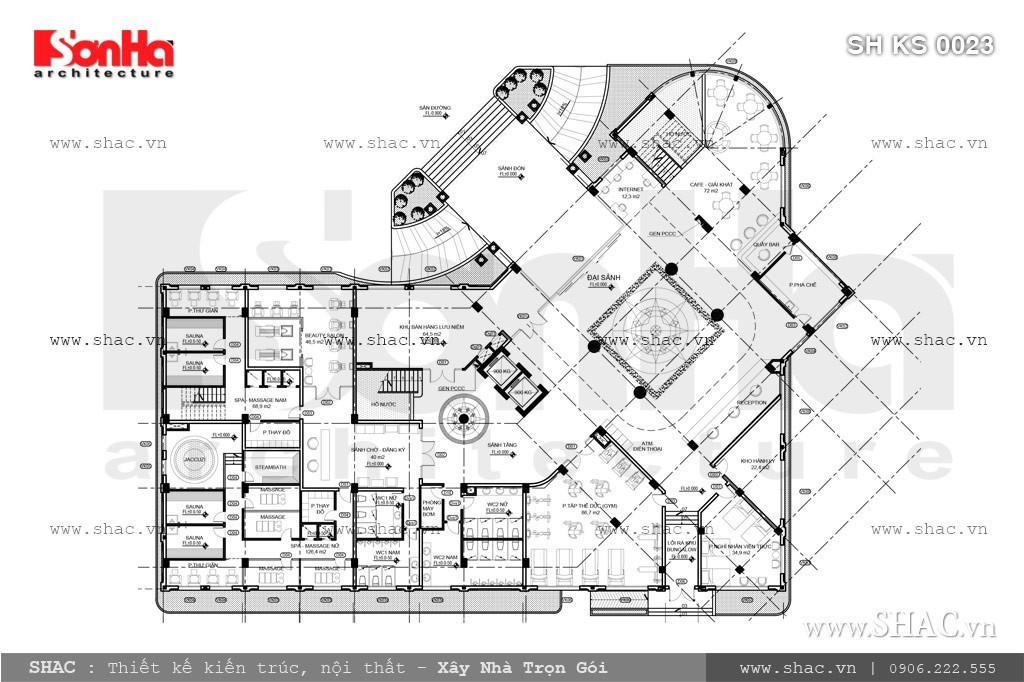 Bản vẽ mặt bằng tầng 1 của khách sạn sh ks 0023