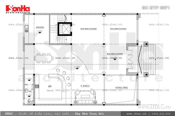 Bản vẽ mặt bằng tầng trệt của biệt thự sh btp 0071