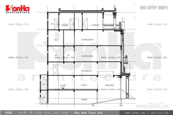 Bản vẽ mặt cắt của biệt thự sh btp 0071