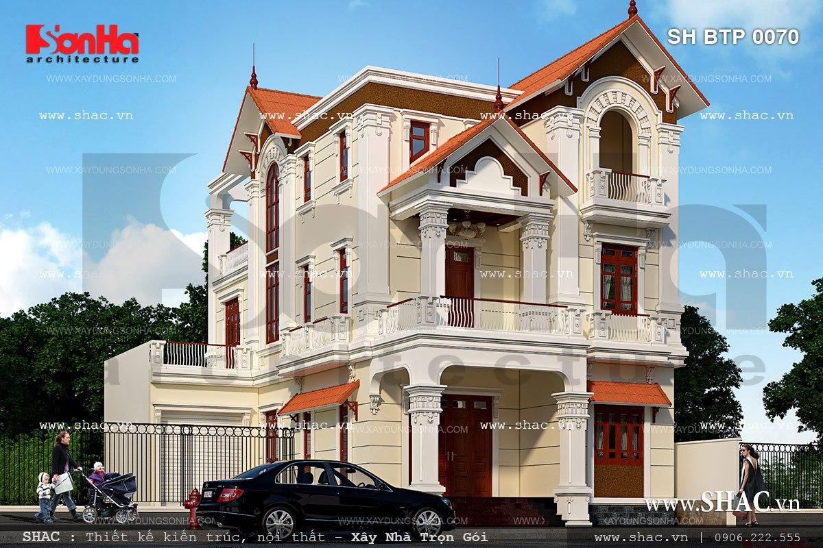 Biệt thự 3 tầng có thiết kế đẹp và sang trọng được đánh giá là điển hình thị trường Thái Bình