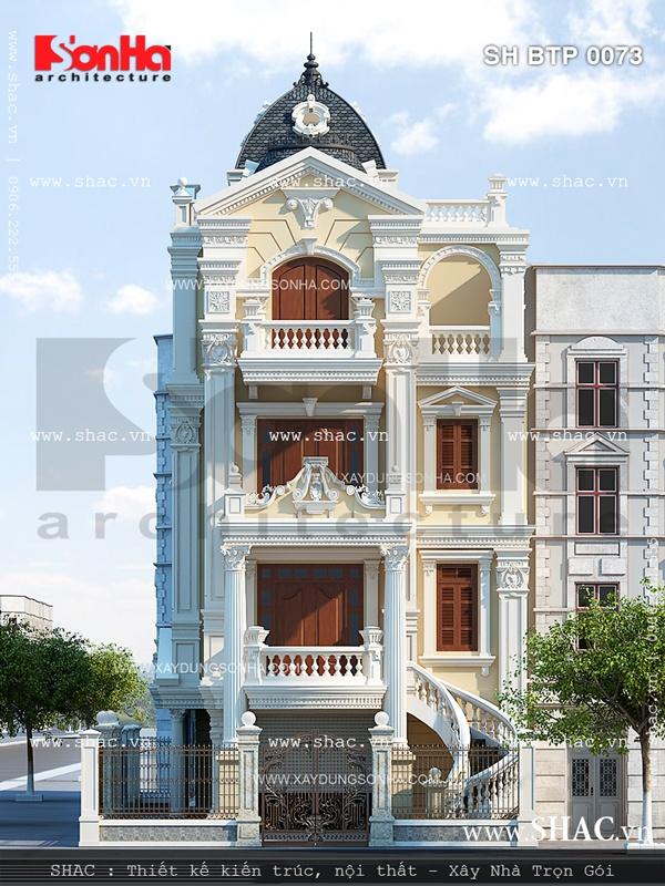 Biệt thự 4 tầng kiến trúc cổ điển tại Quảng Ninh được chủ đầu tư đánh giá cao phương án thiết kế kiến trúc đẹp mắt