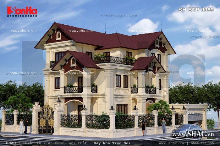 Biệt thự kiến trúc Pháp 3 tầng có thiết kế đẹp và rộng rãi – biệt thự đẹp triệu đô tại Ninh Thuận
