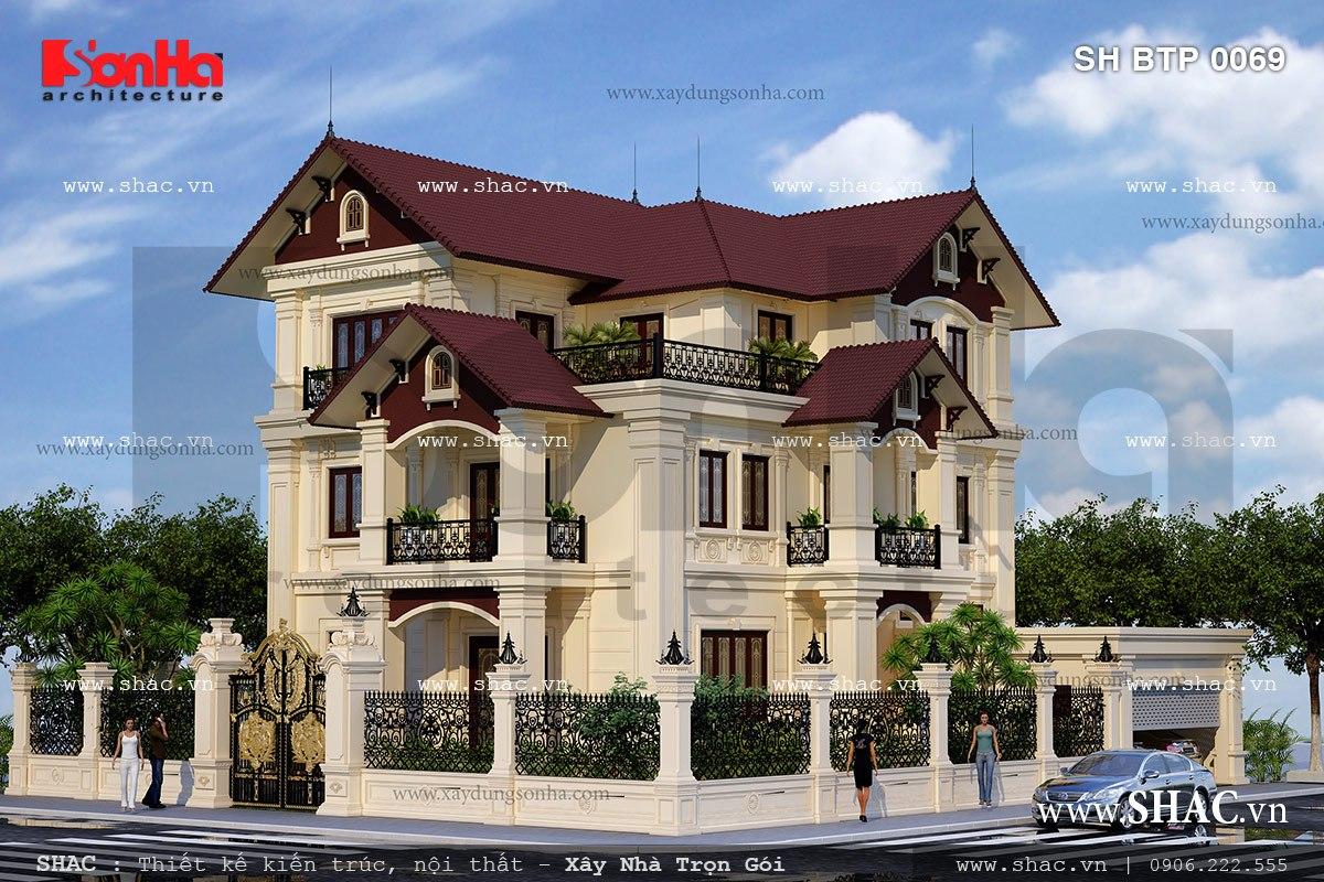 Biệt thự pháp cổ điển có thiết kế đẹp sh btp 0069