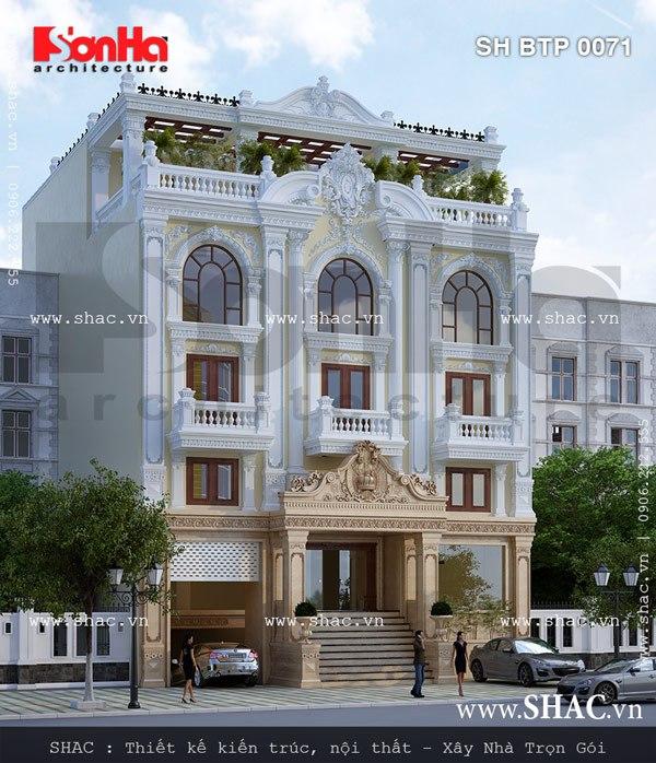 Tiêu biểu cho mẫu thiết kế biệt thự Pháp 4 tầng của SHAC là phương án thiết kế biệt thự cổ điển 4 tầng mặt tiền rộng 15m tại Sài Gòn