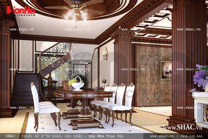Không gian phòng ăn đẹp với bộ bàn ăn được thiết kế tinh tế và sang trọng
