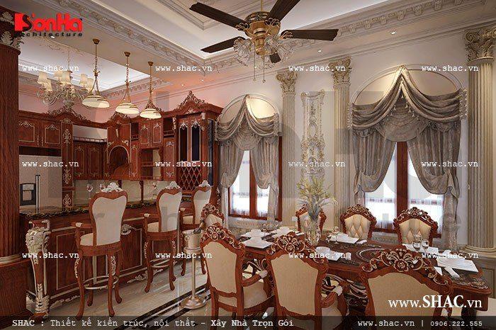 Không gian phòng ăn mang đậm phong cách Pháp sang trọng và đẳng cấp