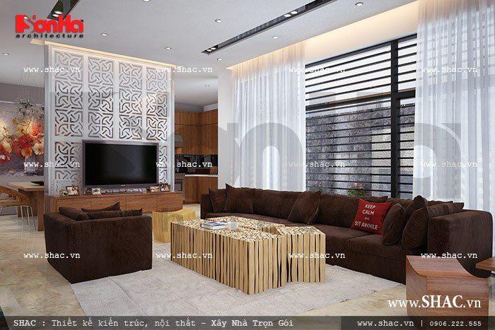 Mẫu thiết kế phòng khách có nội thất trẻ trung với gam màu hợp thời