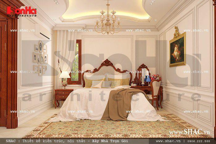 Mẫu phòng ngủ kiểu Pháp đẹp nội thất cổ điển của biệt thự tại Khánh Hòa