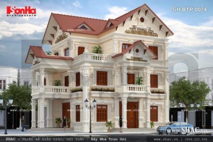 Mặt bằng biệt thự pháp 3 tầng đẹp sh btp 0074