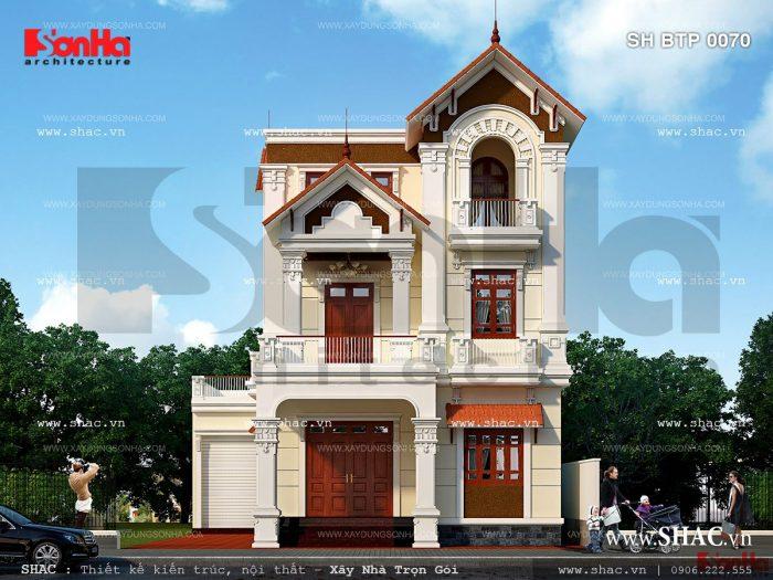 Mặt tiền đẹp của phương án thiết kế biệt thự 3 tầng phong cách cổ điển cách tân thương hiệu SHAC
