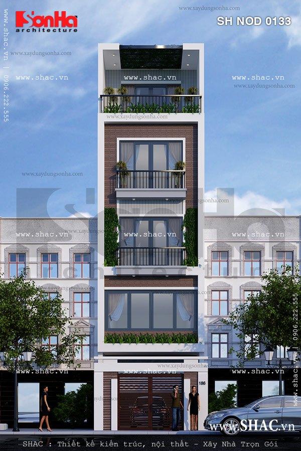Kính là vật liệu lựa chọn khả thi cho việc thiết kế mặt tiền 5m hiện đại nhà phố tiện nghi