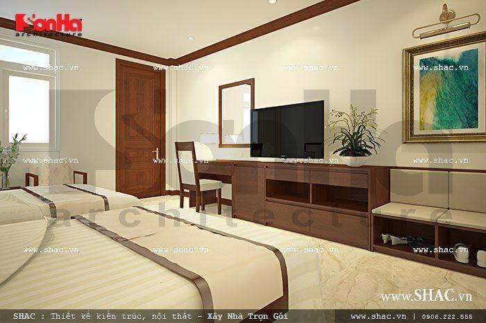 Cách bố trí nội thất gỗ trong không gian sang trọng của mẫu phòng ngủ đôi