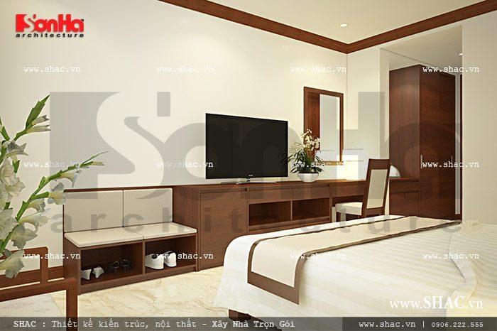 Mẫu thiết kế phòng ngủ đơn tiện nghi của khách sạn cổ điển 6 tầng tại Hải Phòng