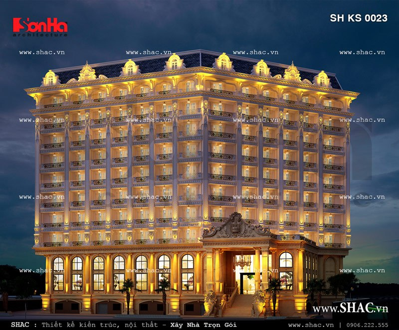 Phối cảnh khách sạn sáng đèn ban đêm sh ks 0023