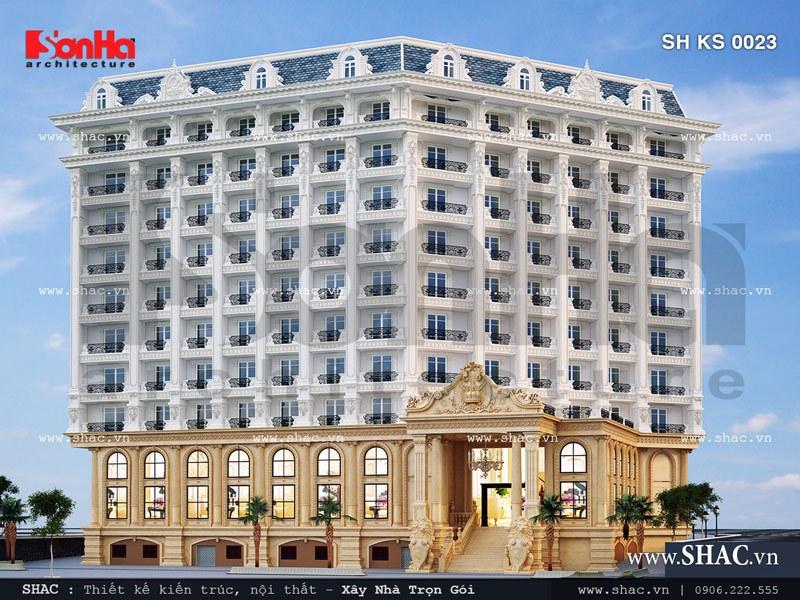 Phối cảnh mặt sau của khách sạn sh ks 0023