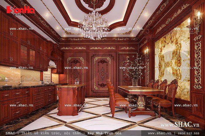 Mãn nhãn với mẫu phòng ăn được thiết kế nội thất xa hoa mang đậm chất cổ điển Pháp từ cách trang trí trần tường đến cách lựa chọn nội thất