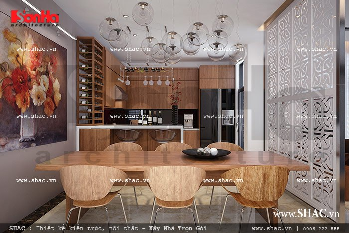 Phòng bếp ăn của biệt thự hiện đại sh btd 0036