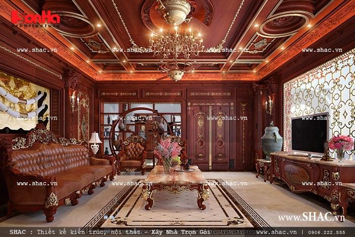 nội thất phòng khách biệt thự bằng gỗ đẹp nhất
