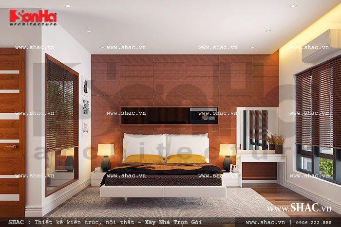 Không gian nội thất phòng ngủ đẹp có hướng ánh sáng và đón gió hợp lý của biệt thự hiện đại