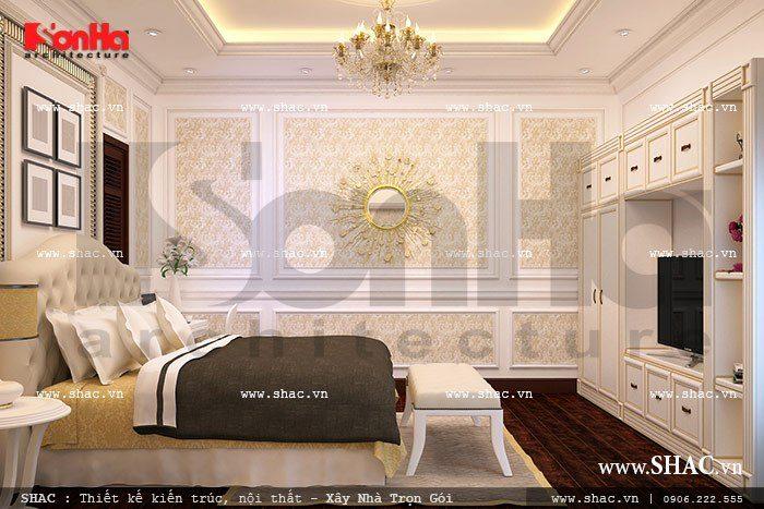 Phòng ngủ biệt thự đẹp phong cách châu Âu sang trọng với gam màu tinh tế