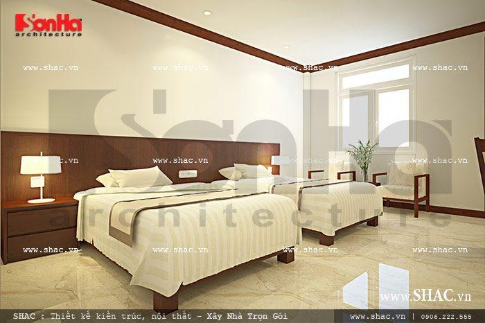 Mẫu thiết kế nội thất phòng ngủ đôi của khách sạn kiến trúc cổ điển diện tích hẹp