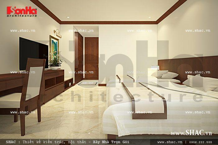 Phương án thiết kế nội thất phòng ngủ đôi rộng rãi và thoải mái của khách sạn 6 tầng kiểu Pháp