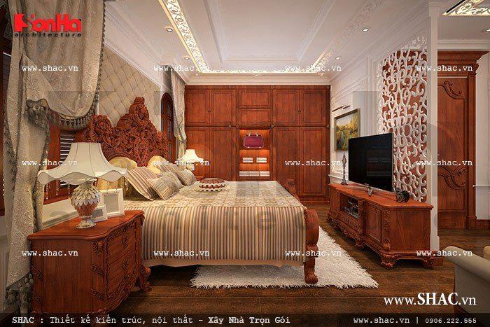 Mẫu thiết kế nội thất phòng ngủ VIP ấm áp và đẳng cấp được chạm khắc tinh xảo trong không gian rộng mang tới không gian nghỉ ngơi hoàn hảo