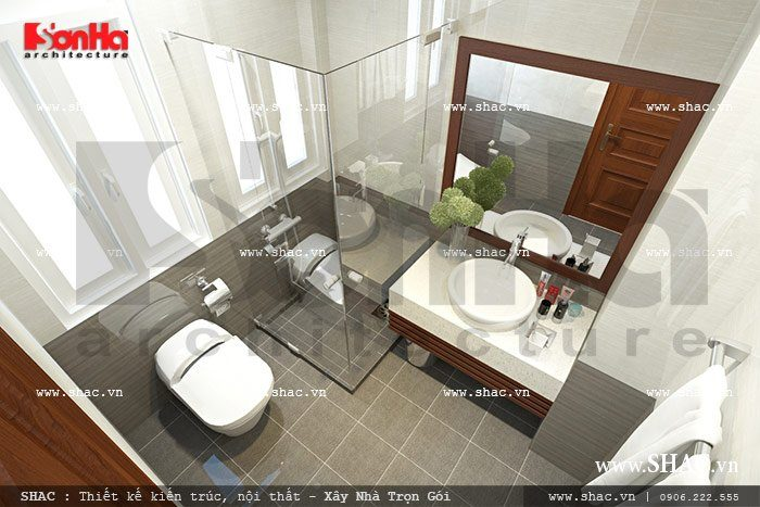 Ấn tượng với mẫu nội thất phòng tắm vệ sinh hiện đại của khách sạn mini 6 tầng đẹp tại Hà Giang
