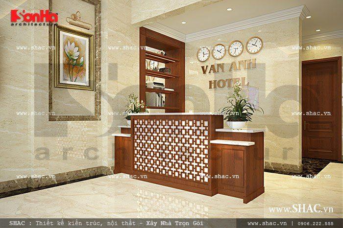 Thiết kế quầy lễ tân khách sạn giản dị nhưng khá độc đáo với đồ nội thất gỗ