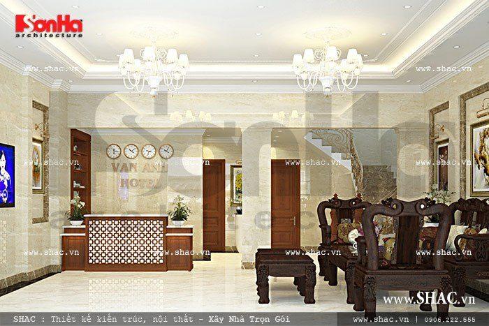 Không gian sảnh khách sạn 6 tầng có thiết kế nội thất lịch thiệp cùng cách bày trí bố cục hợp lý