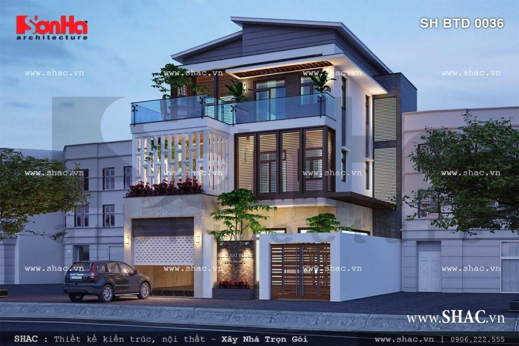 Mẫu biệt thự hiện đại đẹp với mặt tiền đơn giản