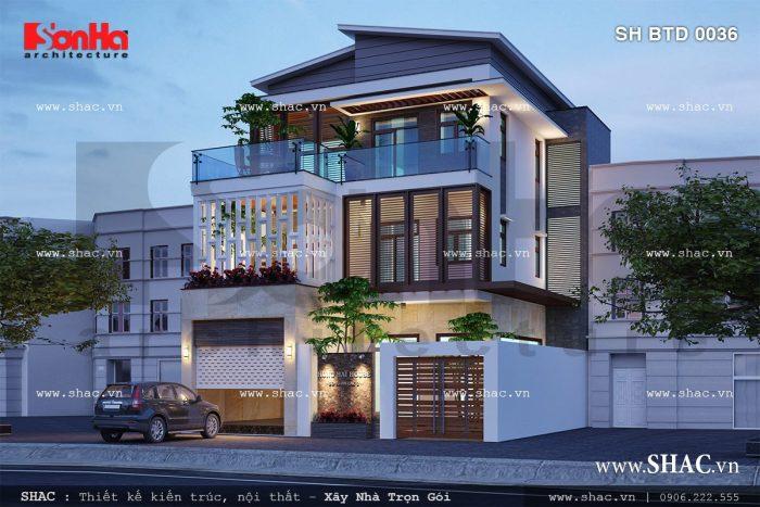 Biệt thự 3 tầng hiện đại và trẻ trung sh btd 0036