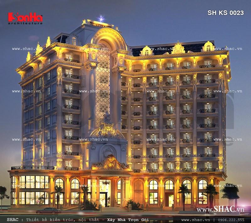 Khách sạn 5 sao ban đêm rực rỡ sh ks 0023