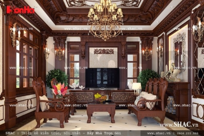Toàn bộ hoa văn cột kèo phòng khách được ốp gỗ sh btp 0068
