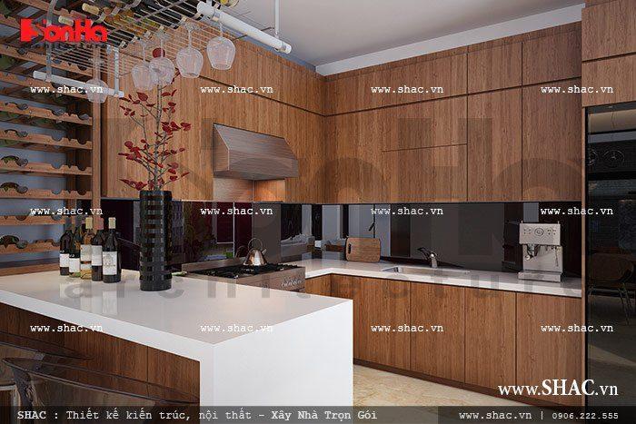 Mẫu thiết kế tủ bếp đẹp cho biệt thự hiện đại sang trọng tiện nghi