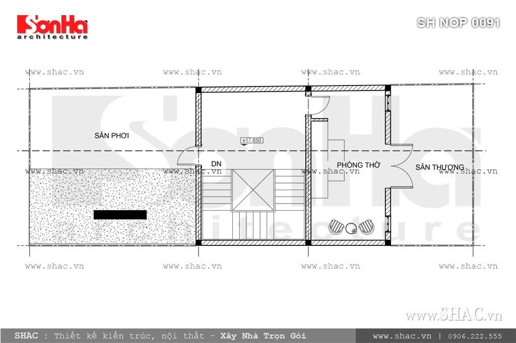 Bản vẽ mặt bằng tầng 5 của nhà phố sh nop 0091