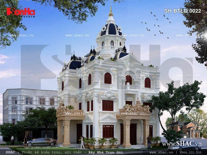 Biệt thự lâu đài 3 tầng 1 tum cổ điển mặt tiền đẹp và độc nhất theo xu hướng thiết kế 2017