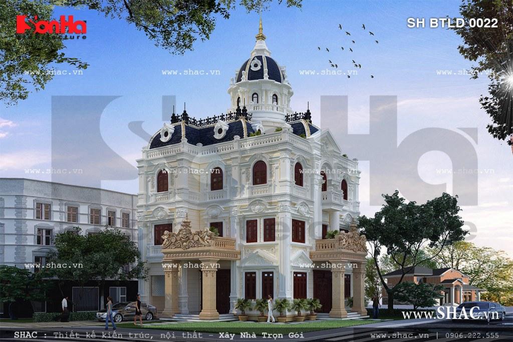 Phương án thiết kế kiến trúc mãn nhãn của ngoại thất biệt thự lâu đài cổ điển với hệ thống phào chỉ tinh tế và đạt tính thẩm mỹ cao