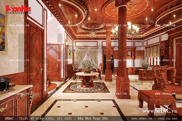 Thiết kế hành lang giao thông và cầu thang di chuyển tại tầng 1 của biệt thự lâu đài liền kề phòng khách và bếp